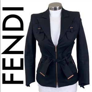 👑 FENDI BLACK ZIP STRETCH JACKET 💯 AUTHENTIC